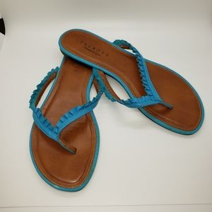 Talbots Teal Ruffled Leather Flip Flops, sz 9